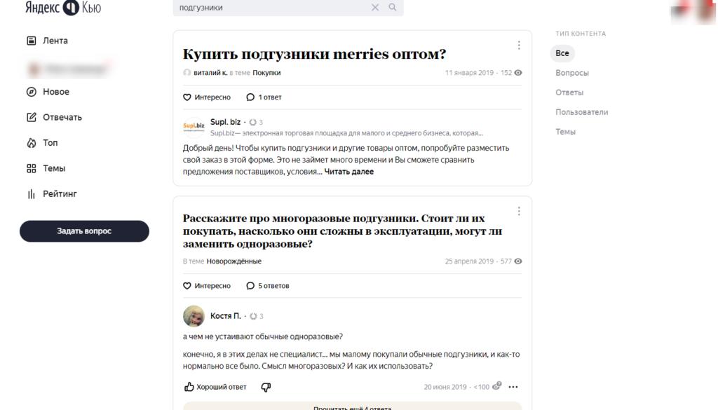 Пример запроса в Яндекс.Кью