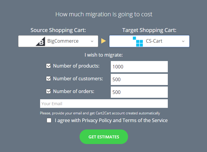 Cart2Cart онлайн-калькулятор